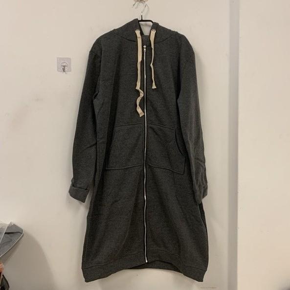 寬鬆衛衣新款連帽長款過膝加厚開衫休閒運動外套(4XL號/777-7591)