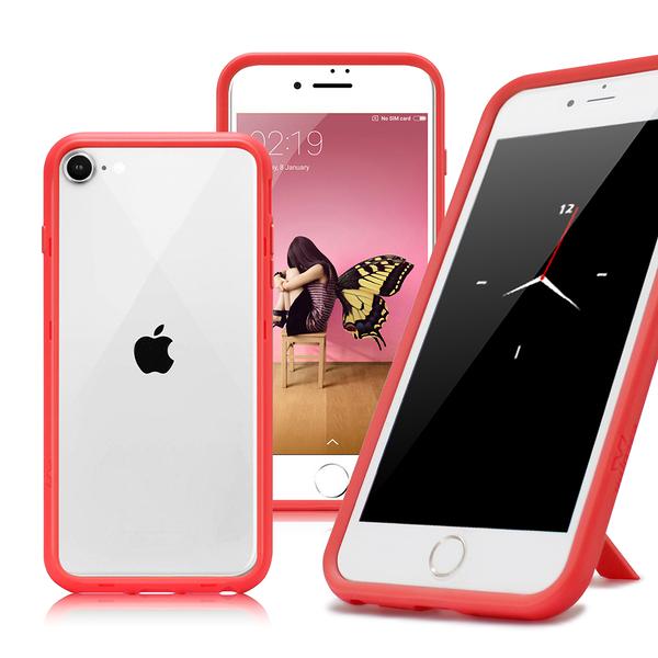 Thunder X 第二代 iPhone SE2 4.7吋 防摔邊框手機殼-粉色