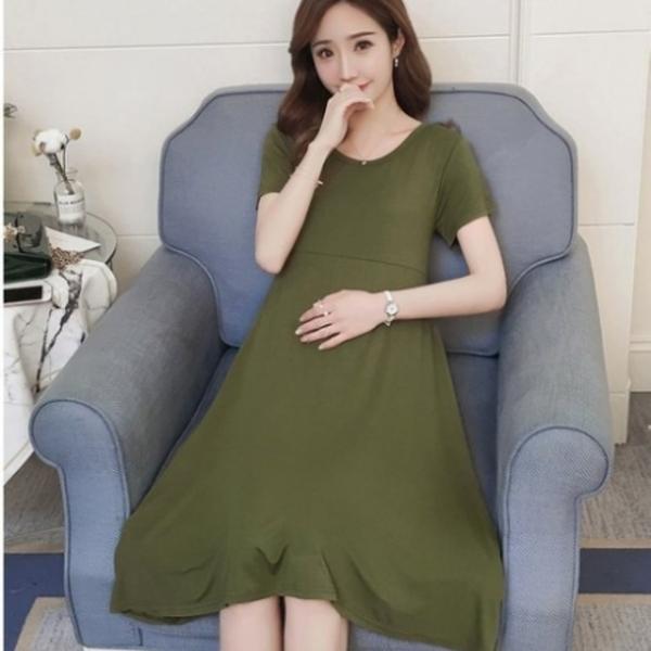 漂亮小媽咪 短袖洋裝 【D6132】 超舒適 純色 莫代爾 超柔軟 孕婦裝 孕婦洋裝 娃娃裝