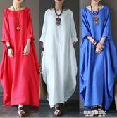 原創民族風春秋新款女裝棉麻連身裙楊麗萍同款加長裙寬鬆亞麻袍子  凱斯盾數位3C