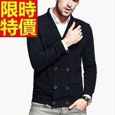 男美麗諾羊毛毛衣外套-造型雙排扣翻領男開襟針織衫64k47[巴黎精品]