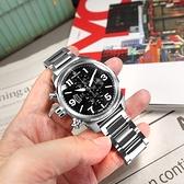 elegantsis / ELJT48MQS-OB06MA / 經典時尚 三眼計時 藍寶石水晶玻璃 日期 防水100米 不鏽鋼手錶 黑色 46mm