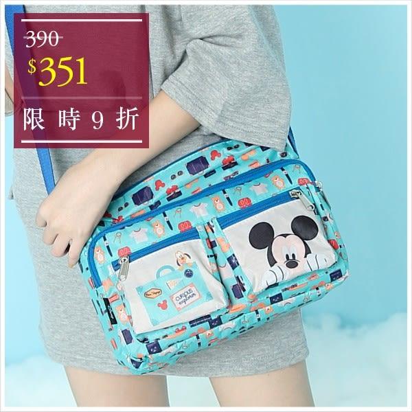 斜背包-迪士尼探索童趣米奇輕旅系列多口袋斜背包-單1款-A17172695-天藍小舖
