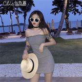 洋裝港味復古中長款修身包臀裙夏季一字領露肩短袖洋裝「Chic七色堇」