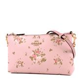 美國正品 COACH 玫瑰花束防刮皮革鍊帶斜背包-粉色【現貨】