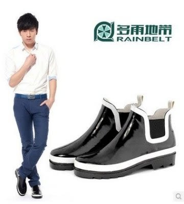 RAINBELT 純色輕便雨鞋男式低幫釣魚鞋【藍星居家】