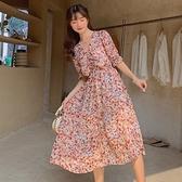 裙子洋裝實拍夏季復古氣質收腰顯瘦碎花雪紡抽繩V領連衣裙女NE34A.8108A胖胖唯依