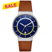 SKAGEN Ancher 創意個性石英手錶-藍x咖啡/40mm SKW6253
