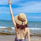 草帽新款海邊沙灘帽子女夏氣質百搭時尚太陽帽防曬防紫外線遮陽帽