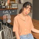 LULUS-Y翻領排釦短版上衣-4色  【01190405】