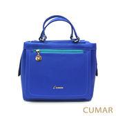 【CUMAR女包】風格撞色長拉鍊小方包-亮藍 網路獨家販售