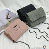 韓國ulzzang錬條小包包女2018新款潮車縫線單肩斜挎復古小方包 魔方數碼館