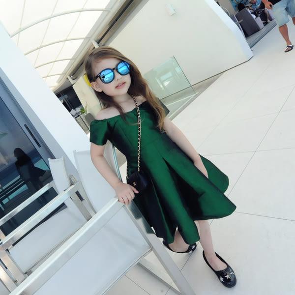 *╮S13小衣衫童裝╭*祖母綠一字領連公主身裙 1050705