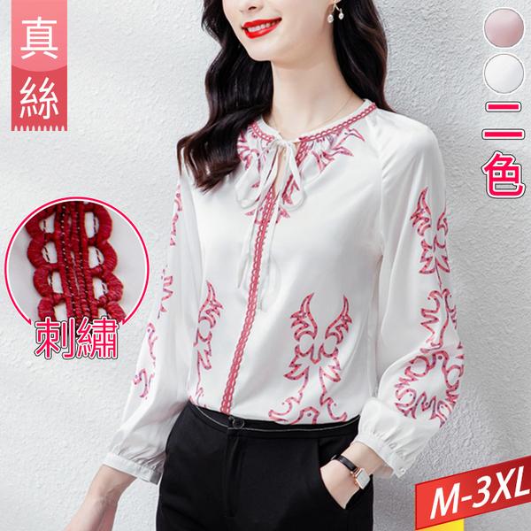 真絲復古刺繡上衣圓領系帶(2色) M-3XL【066344W】【現+預】-流行前線-