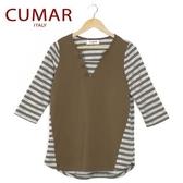【南紡購物中心】【CUMAR】拼接條紋休閒上衣-綠