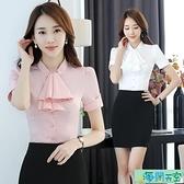 短袖 白襯衫女裝職業裝夏季短袖韓范修身氣質名媛襯衣百搭工作服襯衫