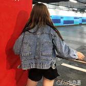 秋裝韓版上衣寬鬆長袖短款牛仔外套女 Chic七色堇