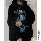 帽T港仔文藝男秋冬季嘻哈連帽帽T韓版寬鬆潮流加絨ins情侶外套潮(快速出貨)
