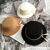 禮帽 歐美英倫風復古流蘇珍珠鏈條毛呢氈帽寬檐禮帽正韓平頂淑女帽潮女【快速出貨】