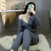 日式和服睡衣女秋季長袖純棉性感兩件套寬鬆可哺乳可愛家居服春季
