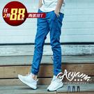 牛仔褲 直條紋設計Jogger彈力單寧縮...