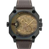 【台南 時代鐘錶 POLICE】義式潮流 冷冽科技風雙時區日期腕錶 15385JSU-13 皮帶 金/黑鋼 50mm