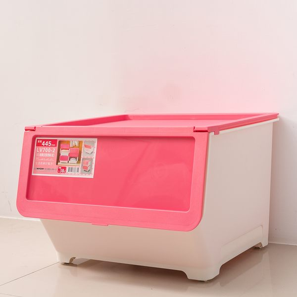 收納箱/置物箱/衣物箱 大口式繽紛雙色[1入] 浪漫粉_中型收納箱  dayneeds