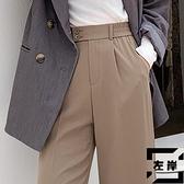 寬褲女高腰垂感秋休閒西裝褲直筒寬鬆拖地褲【左岸男裝】