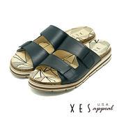 XES 優質皮底拖鞋 英式鞋底 記憶鞋墊 有型好穿 _黑色