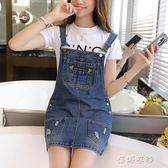 新款韓版牛仔背帶裙子女學生裙少女吊帶牛仔洋裝/連身裙  蓓娜衣都