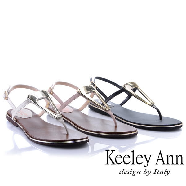 ★2019春夏★Keeley Ann金屬飾扣 素面夾腳人字平底涼鞋(黑色)