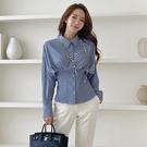 歐媛韓版 藍色韓國襯衫 女設計感小眾洋氣小衫女 時尚收腰長袖職業百搭打底上衣