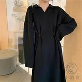 連身裙寬鬆長裙大碼針織毛衣【小酒窩服飾】