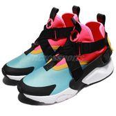 Nike 休閒鞋 Wmns Air Huarache City 粉紅 藍 黑 交叉綁帶 高筒 女鞋 武士鞋 【PUMP306】 AH6787-400