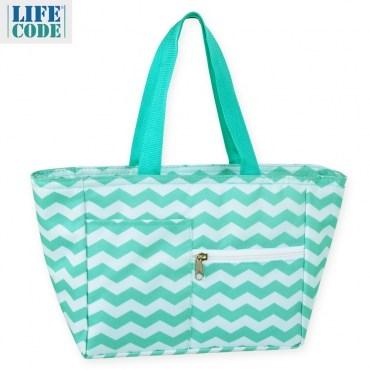 【LIFECODE】多用途保冰水餃包/午餐袋/便當袋-綠色波浪