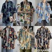 夏季港風日系短袖襯衫男韓版潮流寬鬆夏威夷復古痞帥海邊花襯衣潮 樂事館新品