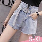 短褲-S-XL時尚繫腰帶個性淺色毛邊牛仔短褲Kiwi Shop奇異果0607【SZZ9091】