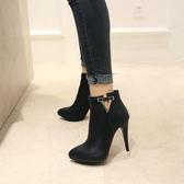丁果大尺碼女鞋34-46►小V金扣側拉鍊漆皮高跟短靴*4色