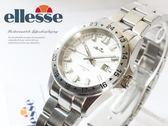 【完全計時】手錶館│ ellesse 極簡經典運動腕錶 03-0673-501 白/小 鋼帶