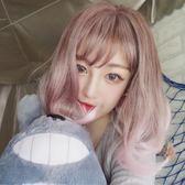 限定款原宿假髮粉白色梨花短捲髮女空氣瀏海短髮BOBO頭彩色漸變假髮