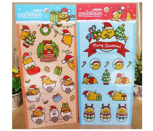 【卡漫城】 單售 蛋黃哥 聖誕 貼紙 右邊藍色款 ㊣版 Gudetama 耶誕節 裝飾 造型 禮物 卡片 聖誕帽