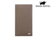 【寧寧精品】台中30年皮件店 BRAUN BUFFEL紳士系列 真皮壓紋附拉鍊長夾 灰色  BF306-301-1