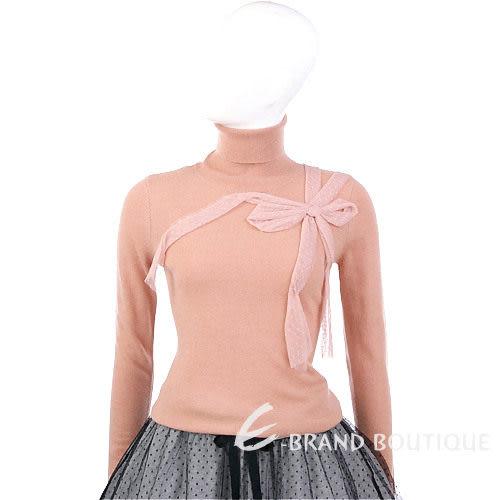 VALENTINO 粉橘色蕾絲蝴蝶結飾高領毛衣 1240278-39