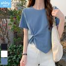 【V9357】shiny藍格子-輕閑甜氛.不規則短款薄款設計感短袖上衣