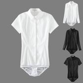 連體襯衫 長袖連體襯衫連褲襯衣女OL正裝秋季白色修身顯瘦彈力棉襯衣彈力