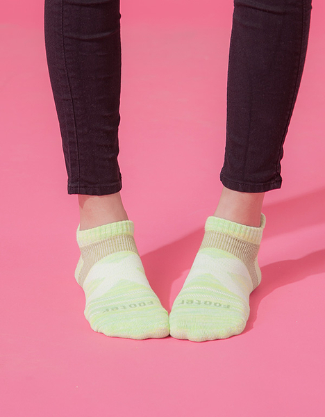 【 Footer 除臭襪】繽紛花紗輕壓力足弓船短襪 綠 22-25CM 女 (任選6雙960元)