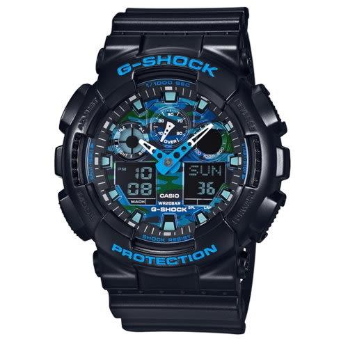 CASIO G-SHOCK/數位雙顯酷炫配色運動錶/GA-100CB-1ADR