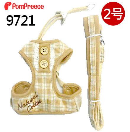 [寵樂子]《日本PomPreece 》有機棉格子木釦狗胸背5號【超取宅配免運】9721