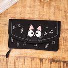 Kiro貓‧ 小黑貓多卡層 音符造型 鈔票收納/錢包/長布夾【222736】