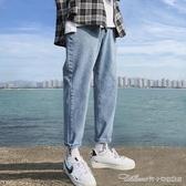 牛仔褲牛仔褲男夏季薄款韓版潮流潮牌寬鬆直筒休閒九分長褲帥氣百搭褲子 免運快出